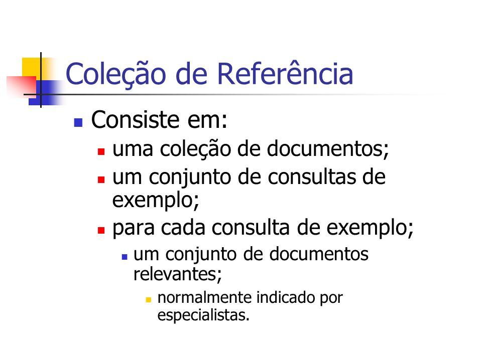 Coleção de Referência Consiste em: uma coleção de documentos;