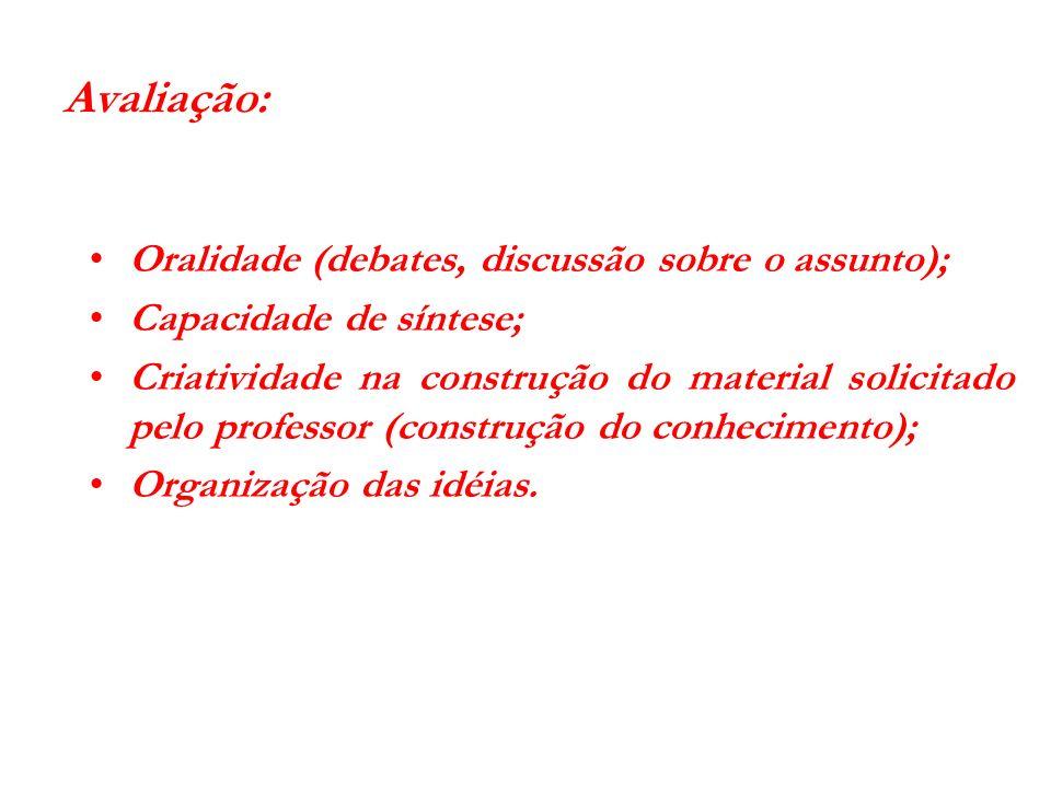 Avaliação: Oralidade (debates, discussão sobre o assunto);