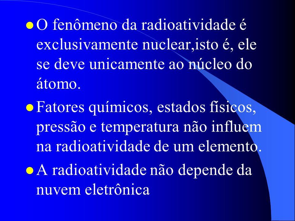 O fenômeno da radioatividade é exclusivamente nuclear,isto é, ele se deve unicamente ao núcleo do átomo.