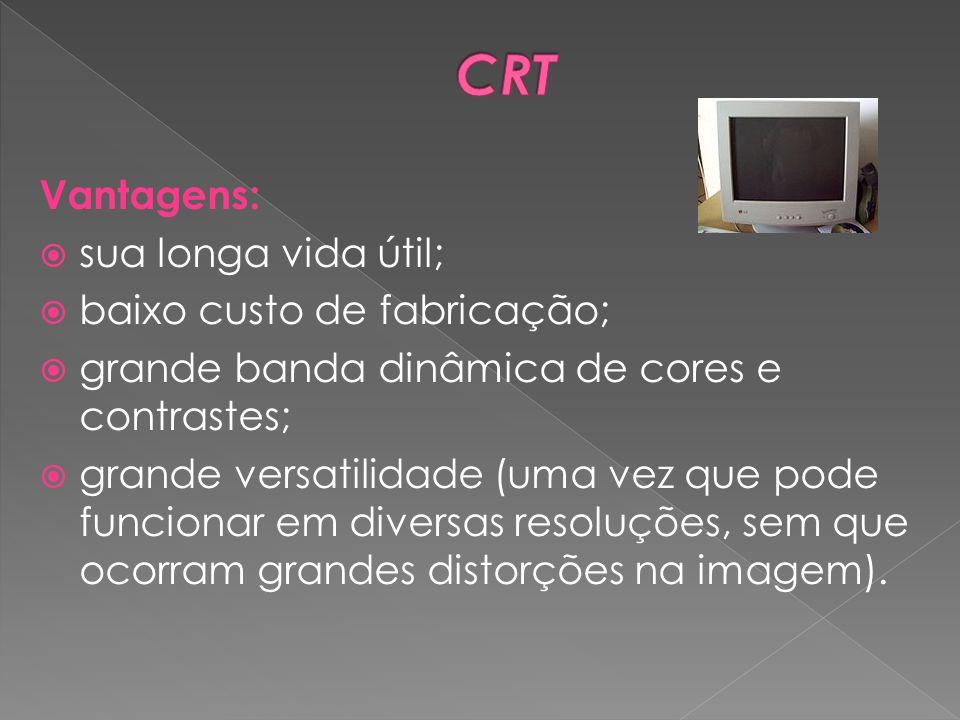 CRT Vantagens: sua longa vida útil; baixo custo de fabricação;