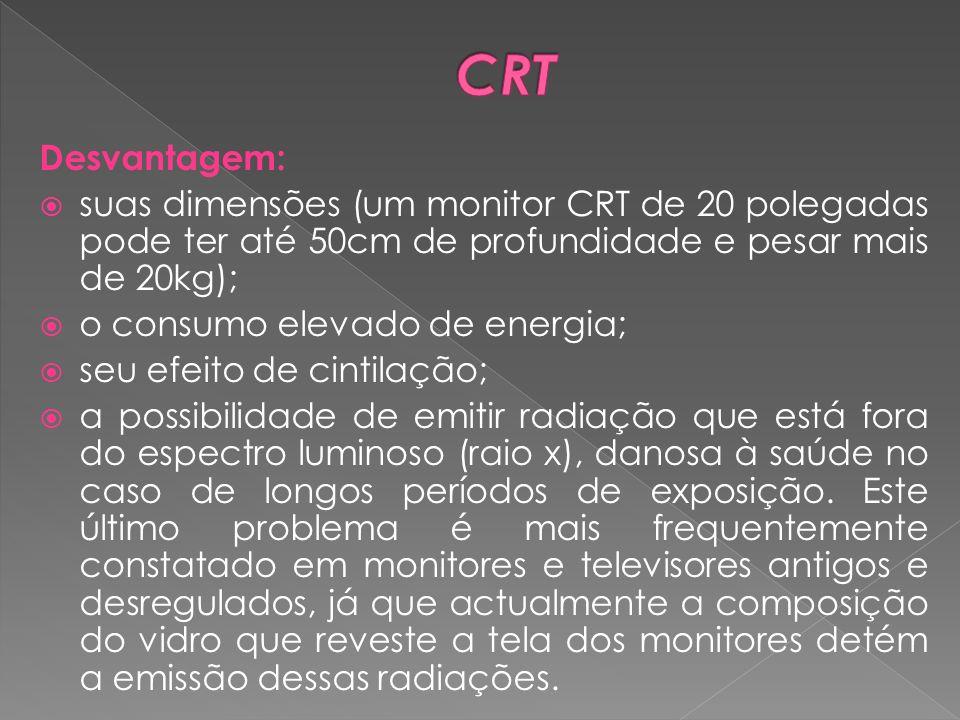 CRT Desvantagem: suas dimensões (um monitor CRT de 20 polegadas pode ter até 50cm de profundidade e pesar mais de 20kg);