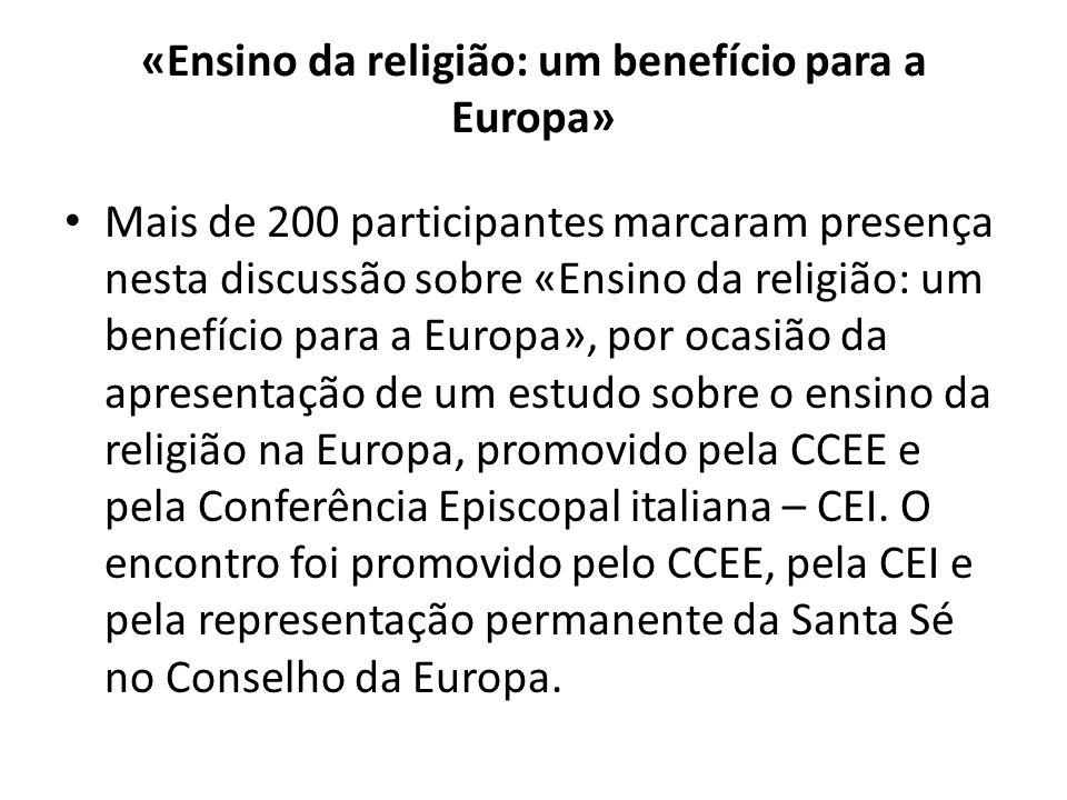 «Ensino da religião: um benefício para a Europa»