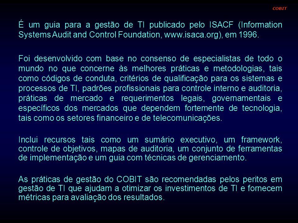 COBITÉ um guia para a gestão de TI publicado pelo ISACF (Information Systems Audit and Control Foundation, www.isaca.org), em 1996.