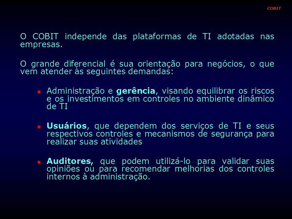 O COBIT independe das plataformas de TI adotadas nas empresas.