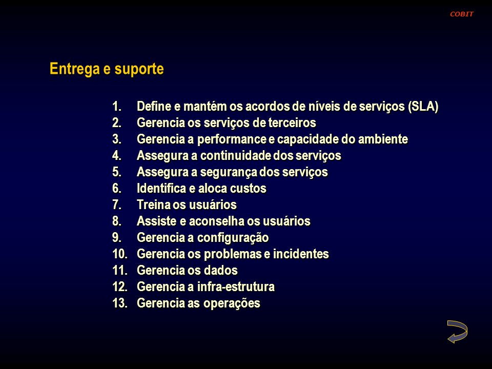 COBITEntrega e suporte. Define e mantém os acordos de níveis de serviços (SLA) Gerencia os serviços de terceiros.