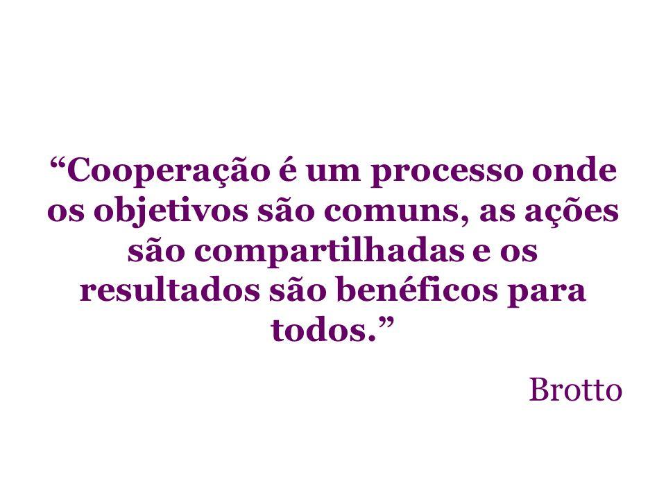 Cooperação é um processo onde os objetivos são comuns, as ações são compartilhadas e os resultados são benéficos para todos.