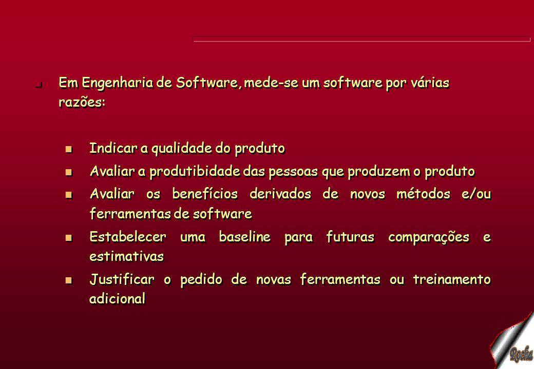 Em Engenharia de Software, mede-se um software por várias razões: