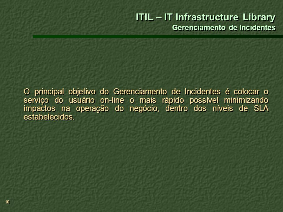 ITIL – IT Infrastructure Library Gerenciamento de Incidentes
