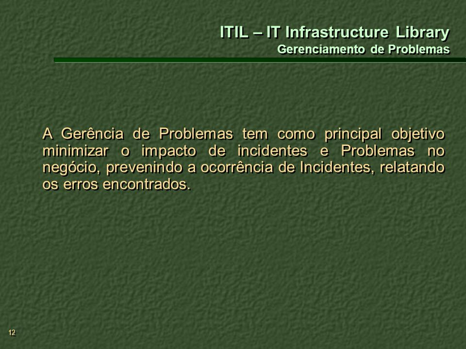ITIL – IT Infrastructure Library Gerenciamento de Problemas