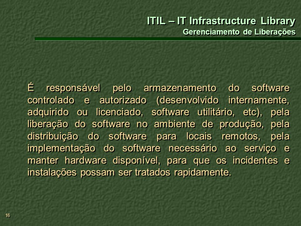 ITIL – IT Infrastructure Library Gerenciamento de Liberações