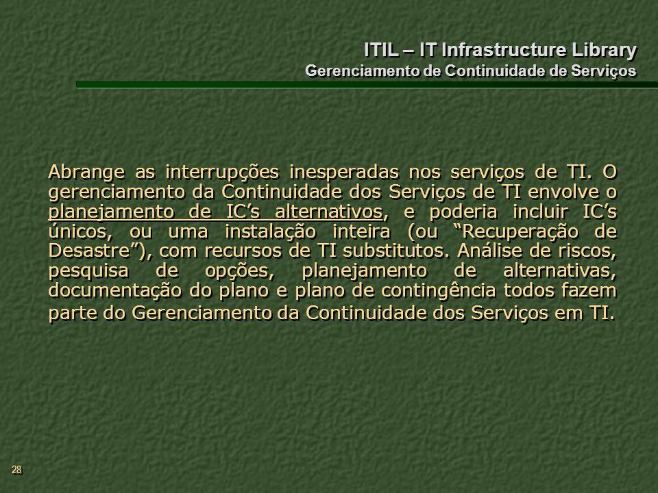 ITIL – IT Infrastructure Library Gerenciamento de Continuidade de Serviços