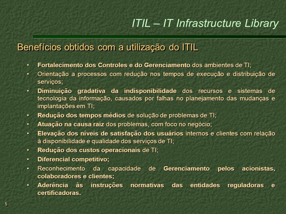 Benefícios obtidos com a utilização do ITIL