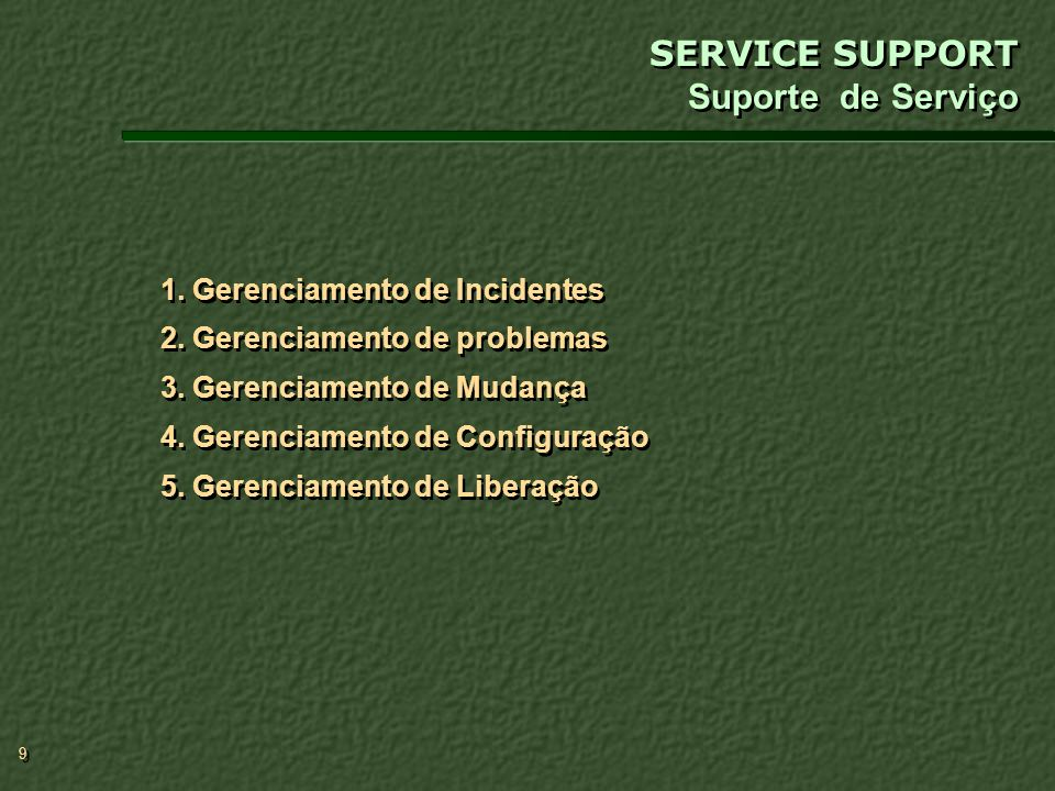 SERVICE SUPPORT Suporte de Serviço