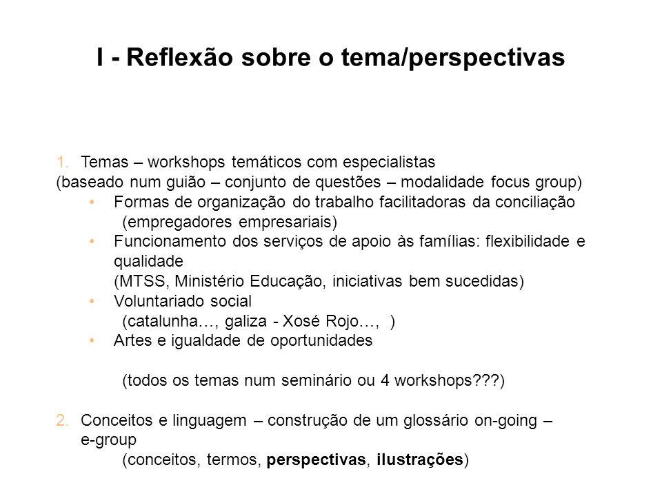 I - Reflexão sobre o tema/perspectivas