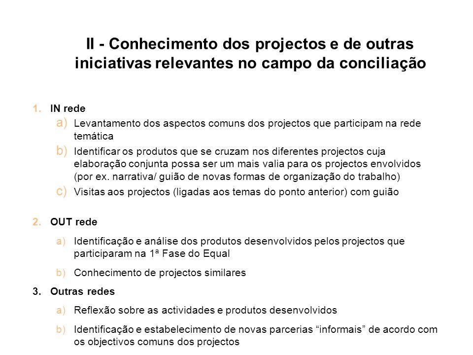 II - Conhecimento dos projectos e de outras iniciativas relevantes no campo da conciliação