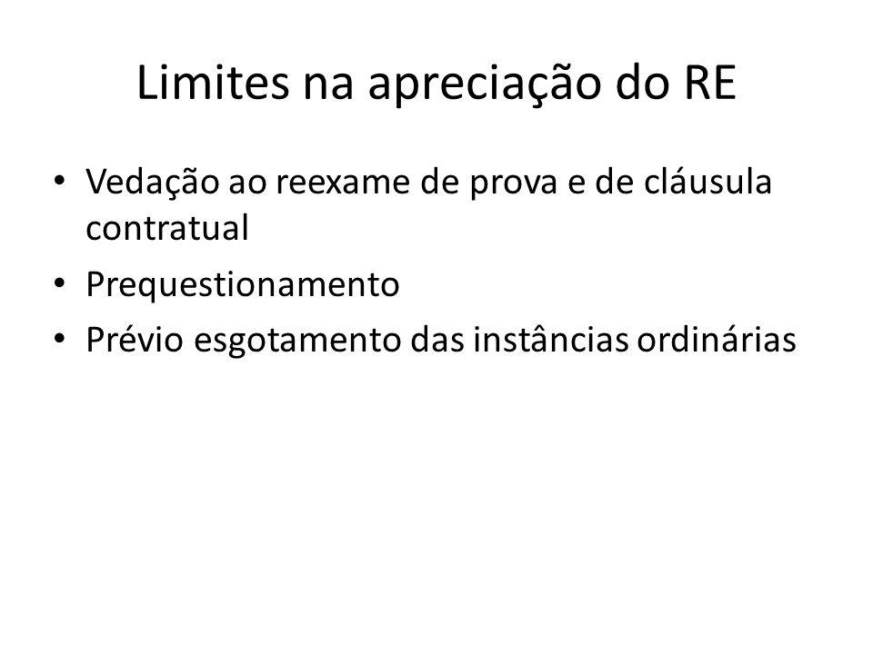 Limites na apreciação do RE