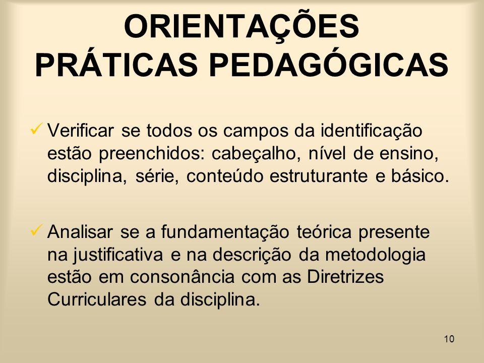 ORIENTAÇÕES PRÁTICAS PEDAGÓGICAS