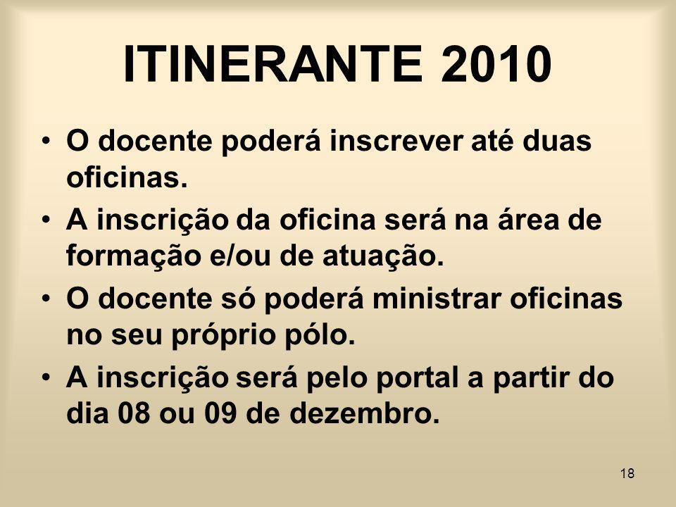 ITINERANTE 2010 O docente poderá inscrever até duas oficinas.