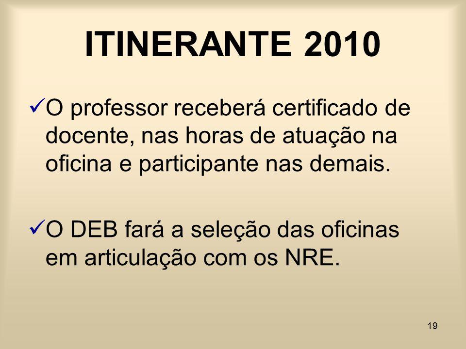 ITINERANTE 2010 O professor receberá certificado de docente, nas horas de atuação na oficina e participante nas demais.