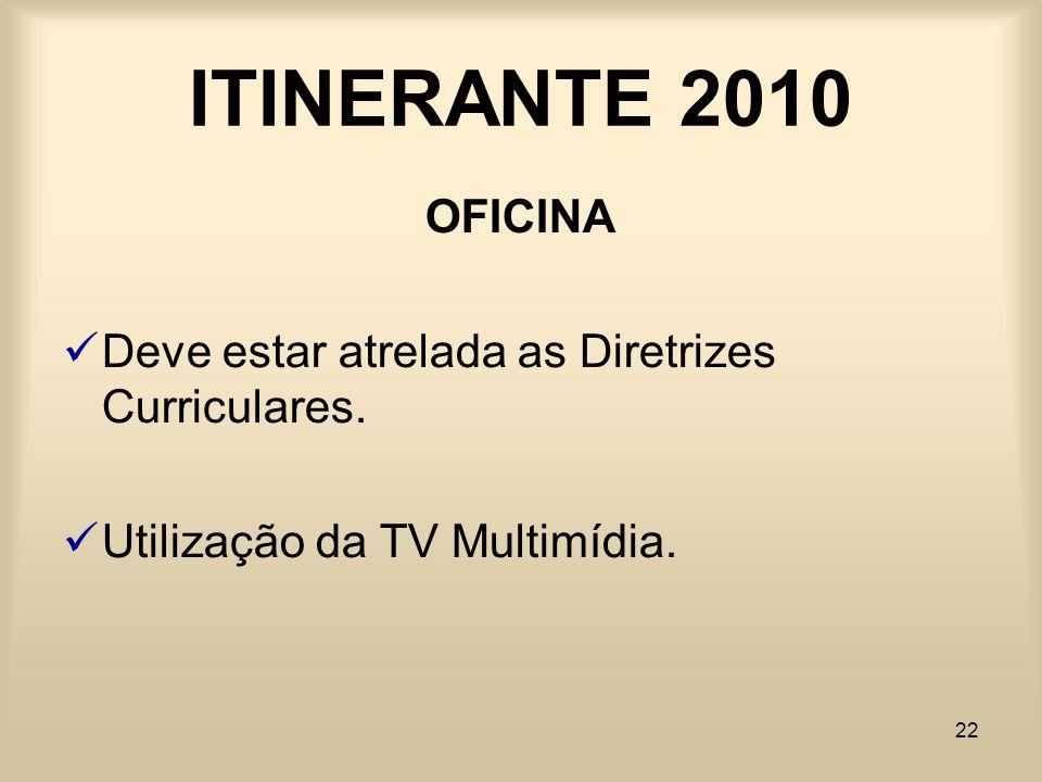 ITINERANTE 2010 OFICINA. Deve estar atrelada as Diretrizes Curriculares.