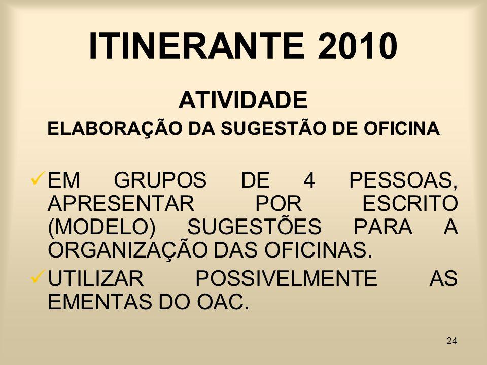 ELABORAÇÃO DA SUGESTÃO DE OFICINA