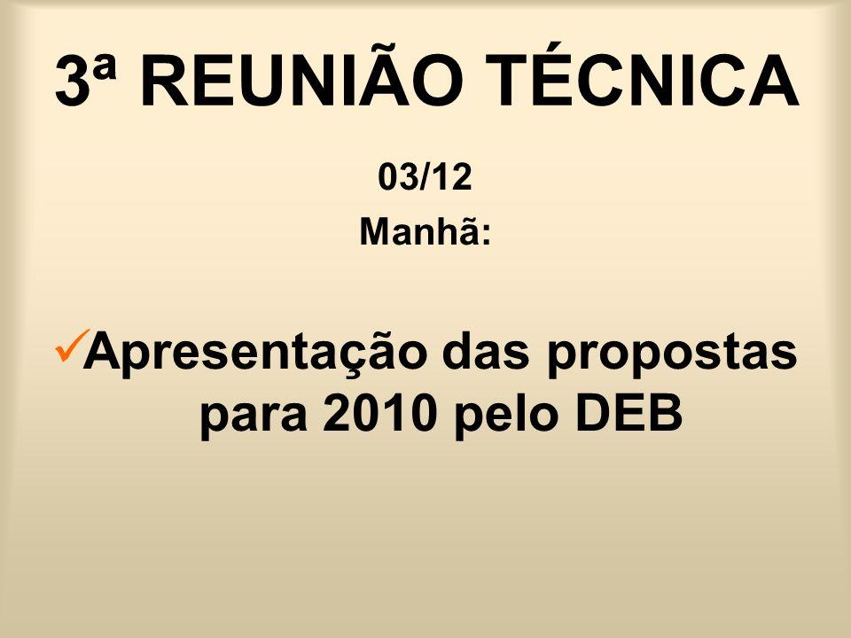 Apresentação das propostas para 2010 pelo DEB