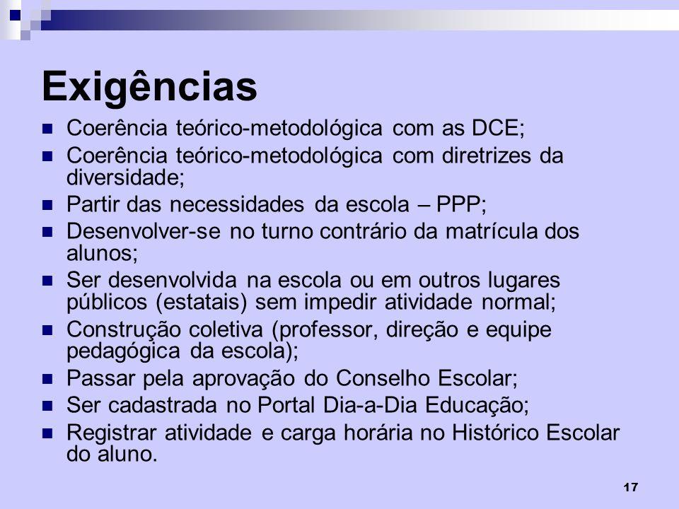 Exigências Coerência teórico-metodológica com as DCE;