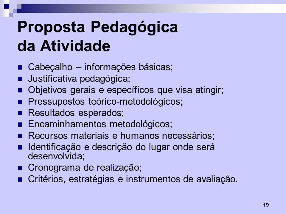 Proposta Pedagógica da Atividade