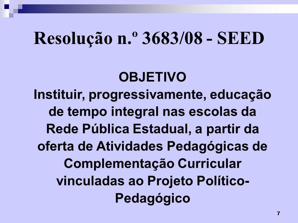 Resolução n.º 3683/08 - SEED OBJETIVO