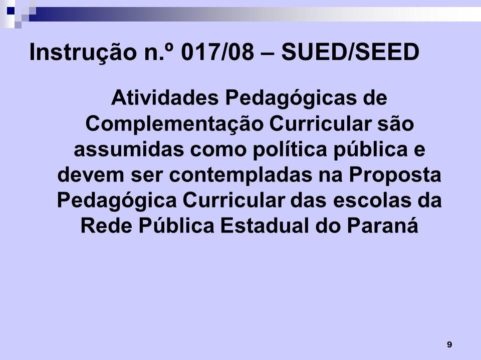 Instrução n.º 017/08 – SUED/SEED