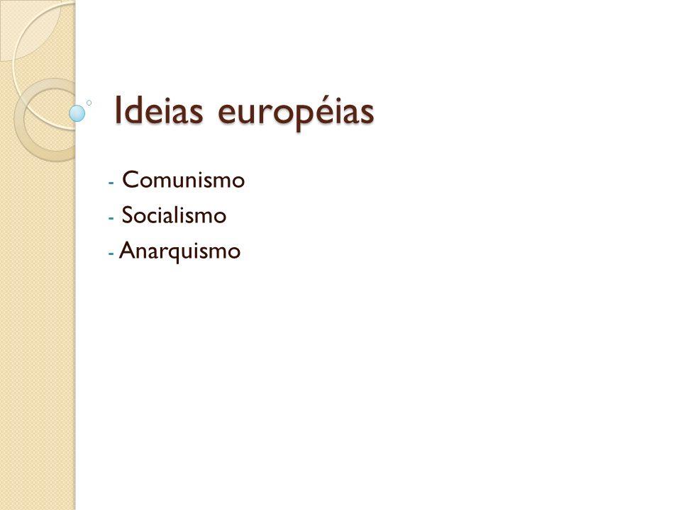 Ideias européias Comunismo Socialismo Anarquismo