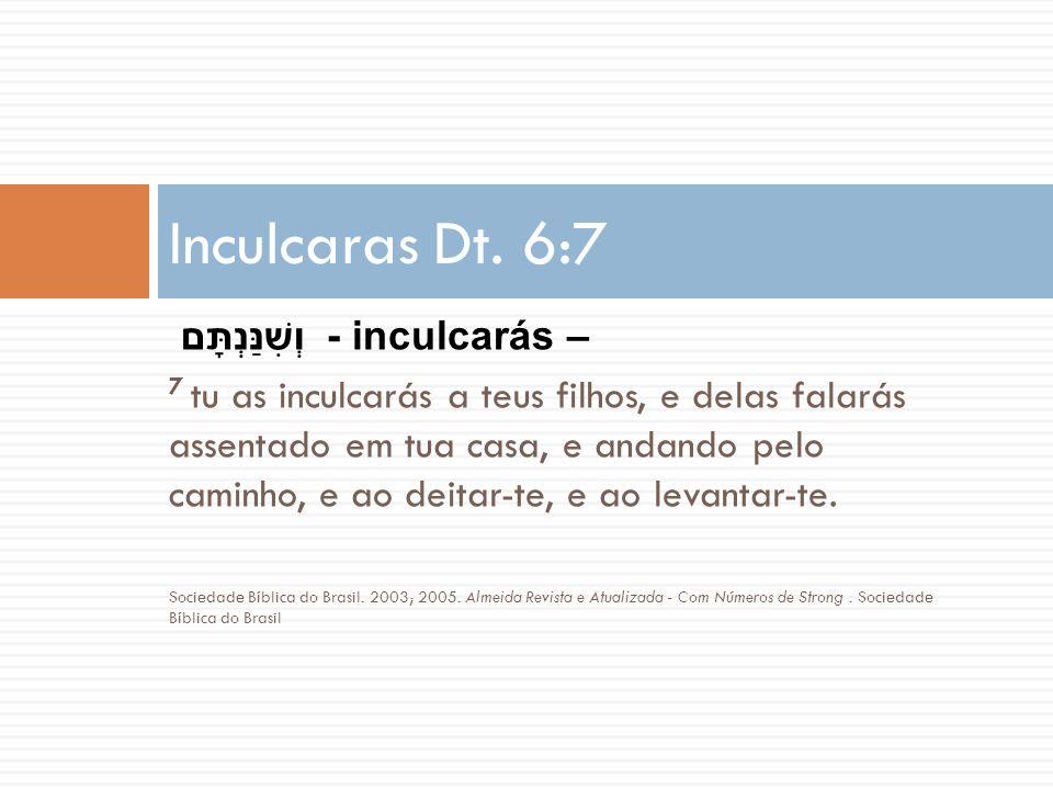 Inculcaras Dt. 6:7 וְשִׁנַּנְתָּם - inculcarás –