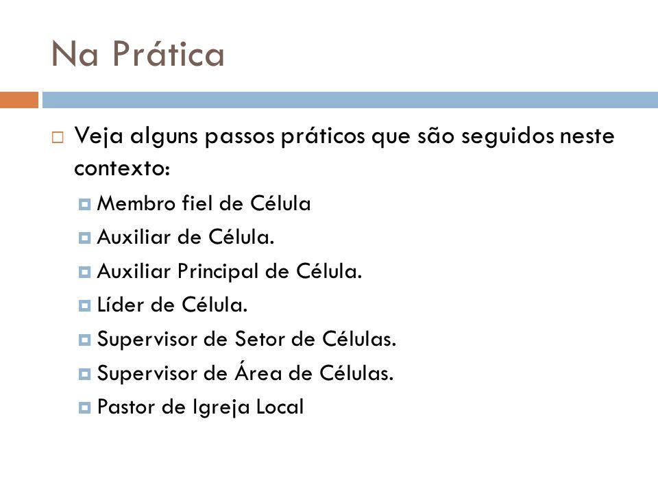 Na Prática Veja alguns passos práticos que são seguidos neste contexto: Membro fiel de Célula. Auxiliar de Célula.