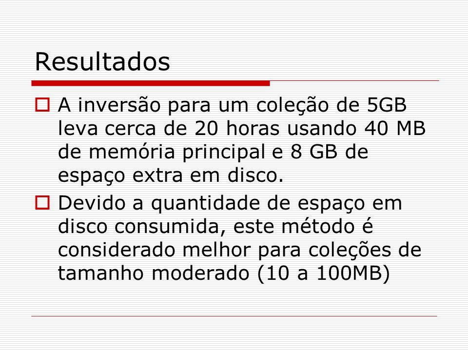 ResultadosA inversão para um coleção de 5GB leva cerca de 20 horas usando 40 MB de memória principal e 8 GB de espaço extra em disco.