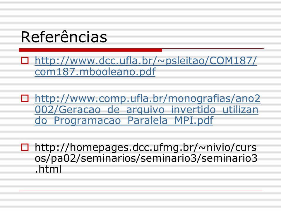 Referências http://www.dcc.ufla.br/~psleitao/COM187/com187.mbooleano.pdf.
