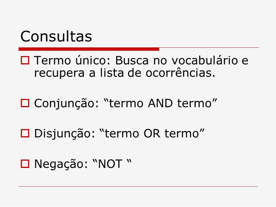 ConsultasTermo único: Busca no vocabulário e recupera a lista de ocorrências. Conjunção: termo AND termo