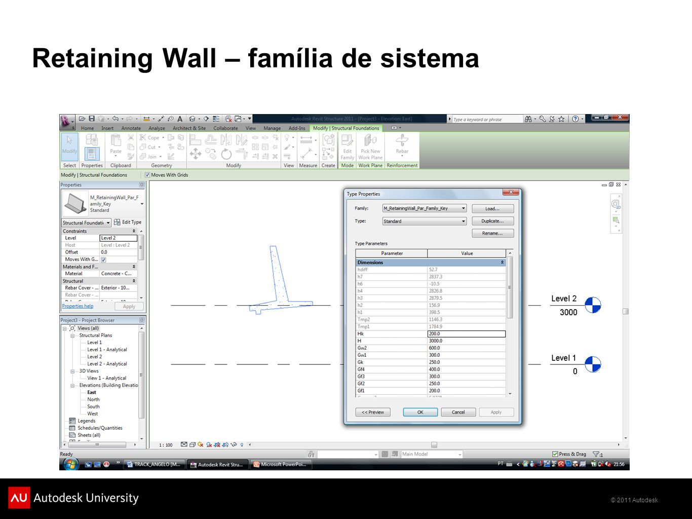 Retaining Wall – família de sistema