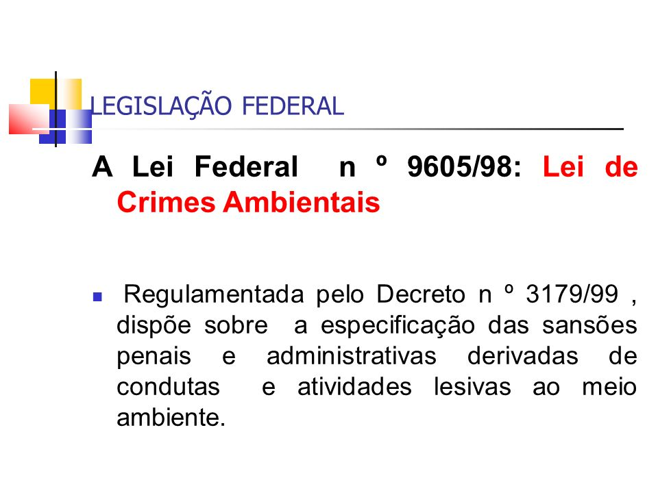 A Lei Federal n º 9605/98: Lei de Crimes Ambientais