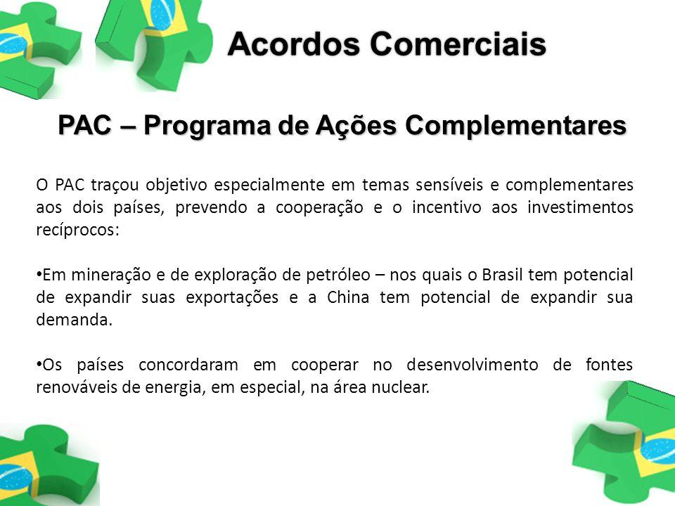 Acordos Comerciais PAC – Programa de Ações Complementares