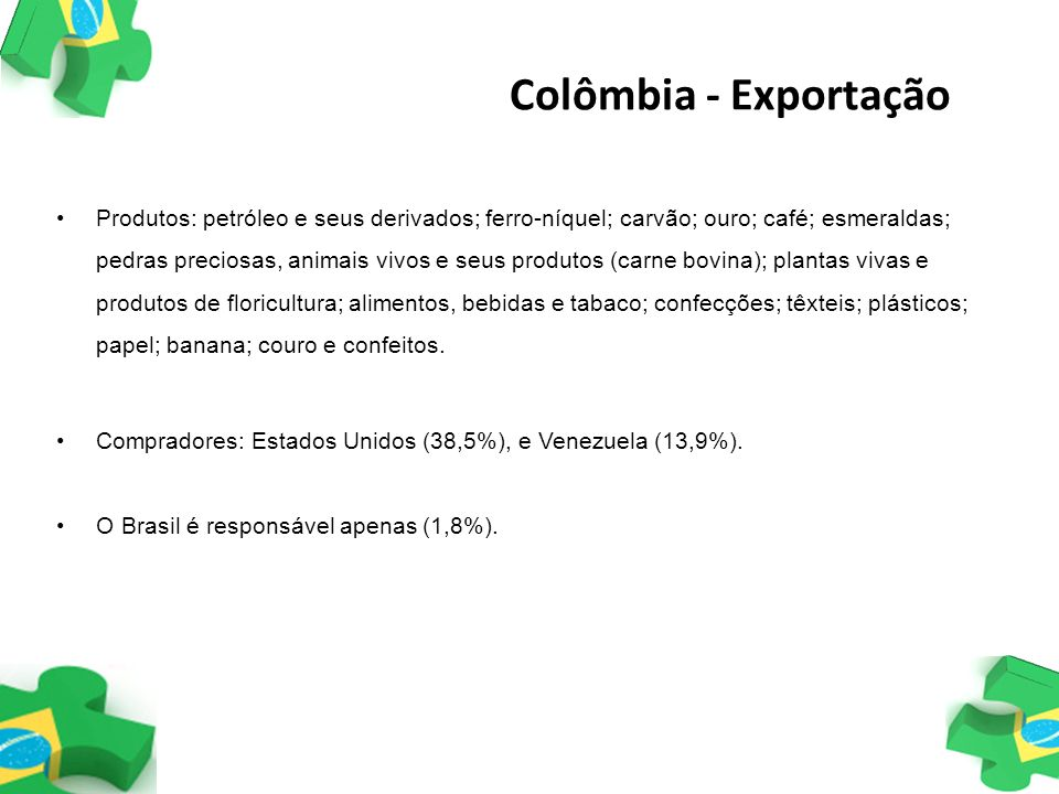 Colômbia - Exportação