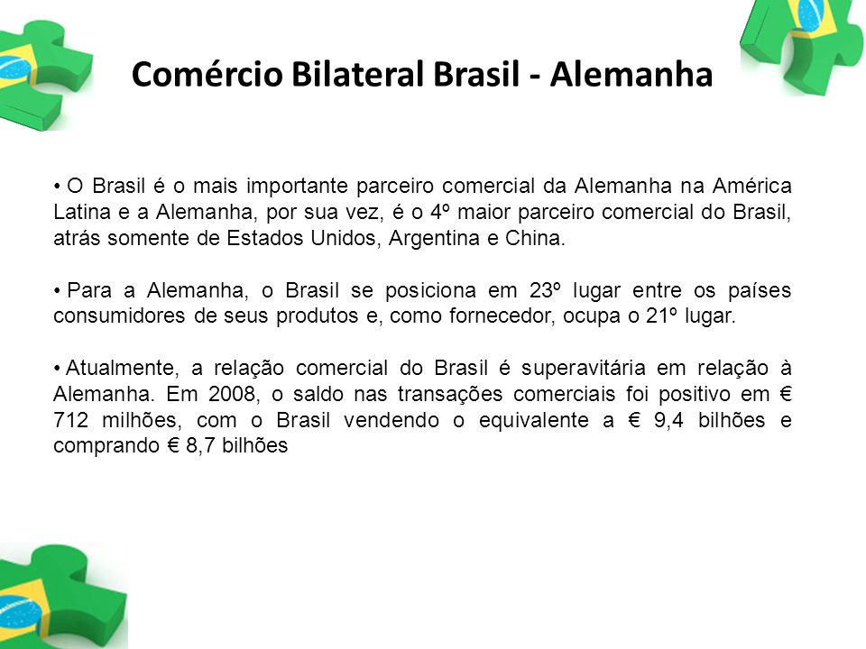 Comércio Bilateral Brasil - Alemanha