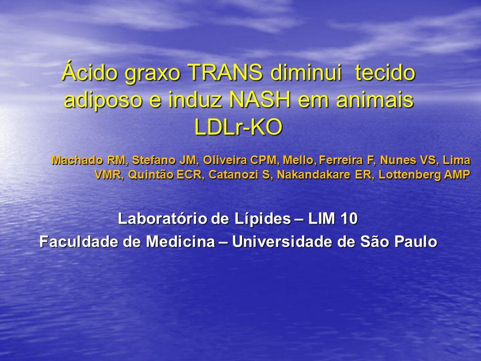 Ácido graxo TRANS diminui tecido adiposo e induz NASH em animais LDLr-KO