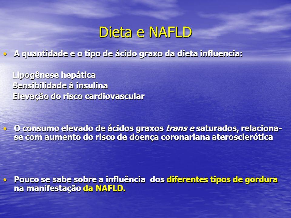 Dieta e NAFLD A quantidade e o tipo de ácido graxo da dieta influencia: Lipogênese hepática. Sensibilidade à insulina.