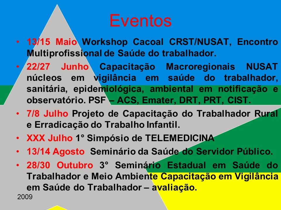 Eventos13/15 Maio Workshop Cacoal CRST/NUSAT, Encontro Multiprofissional de Saúde do trabalhador.