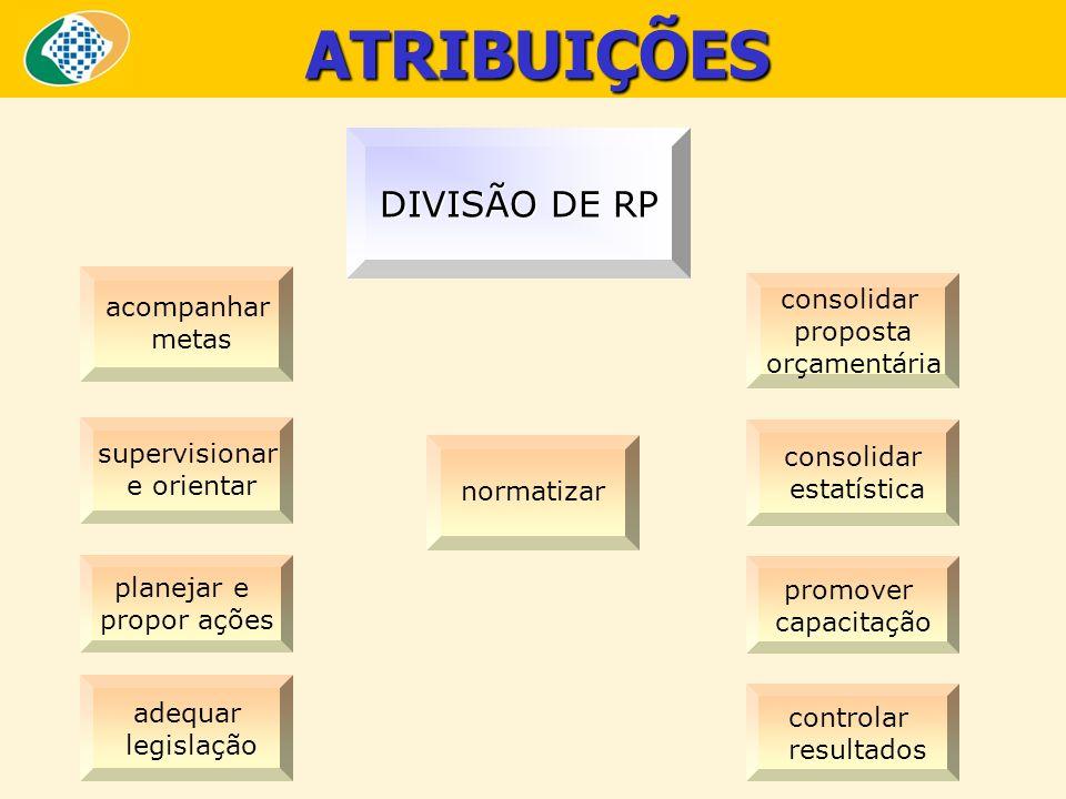 ATRIBUIÇÕES DIVISÃO DE RP acompanhar consolidar metas proposta
