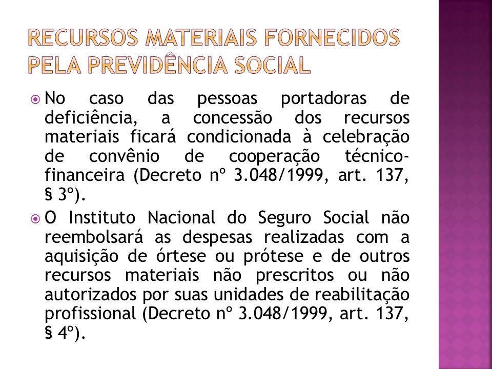 RECURSOS MATERIAIS FORNECIDOS PELA PREVIDÊNCIA SOCIAL