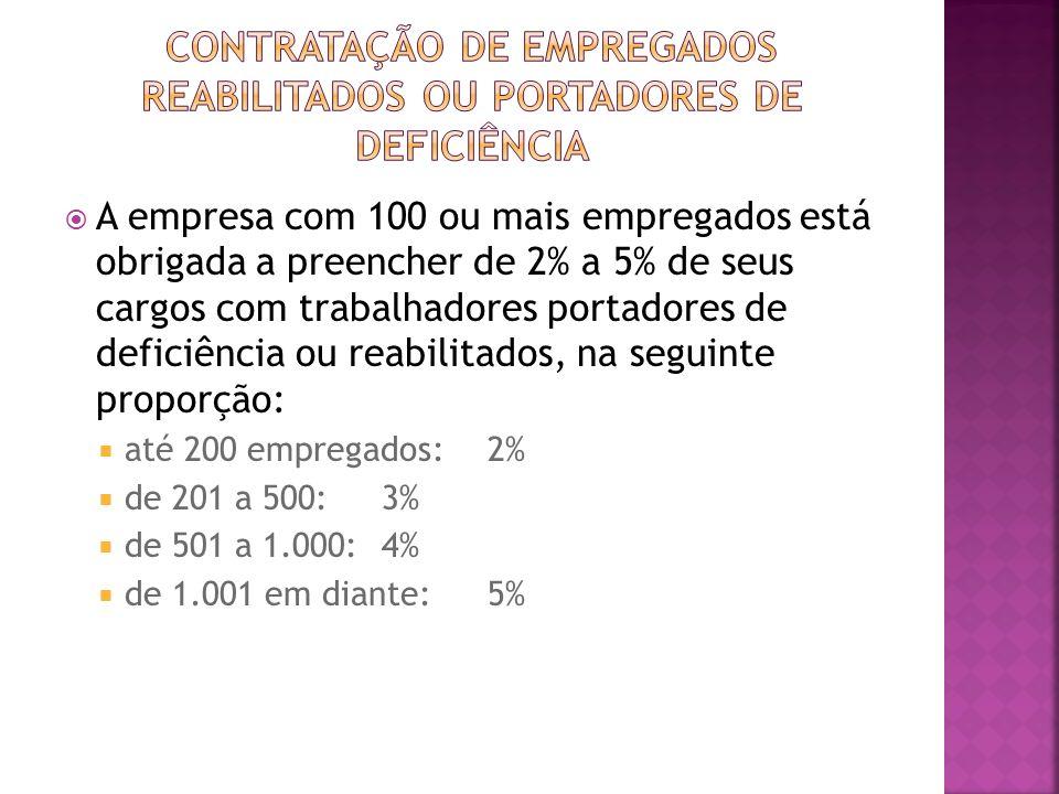 CONTRATAÇÃO DE EMPREGADOS REABILITADOS OU PORTADORES DE DEFICIÊNCIA