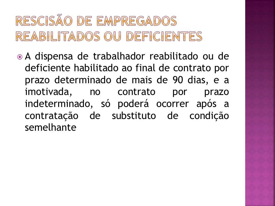 Rescisão de Empregados Reabilitados ou Deficientes