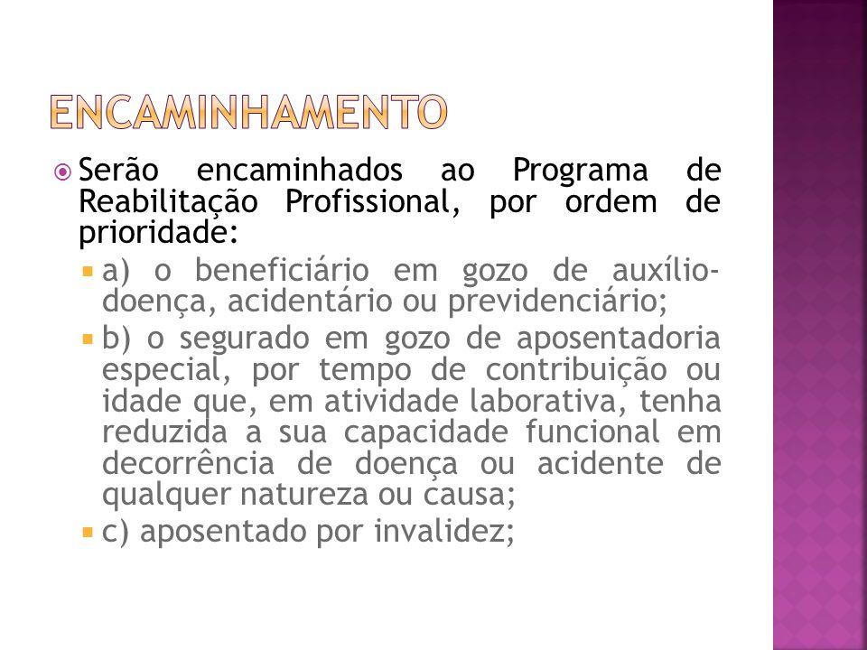 ENCAMINHAMENTO Serão encaminhados ao Programa de Reabilitação Profissional, por ordem de prioridade: