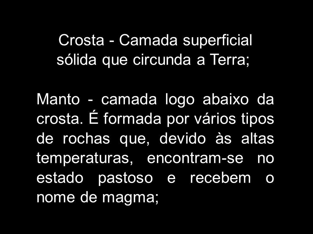 Crosta - Camada superficial sólida que circunda a Terra;